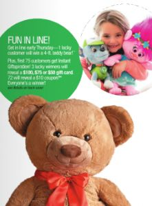 FREE Gift Card, Coupon or Teddy at Stage Stores on Thursday 11/24 on http://hunt4freebies.com