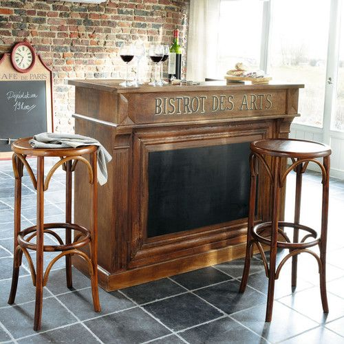 Meuble de bar en manguier massif l 132 cm bistrot for Acheter meuble bar