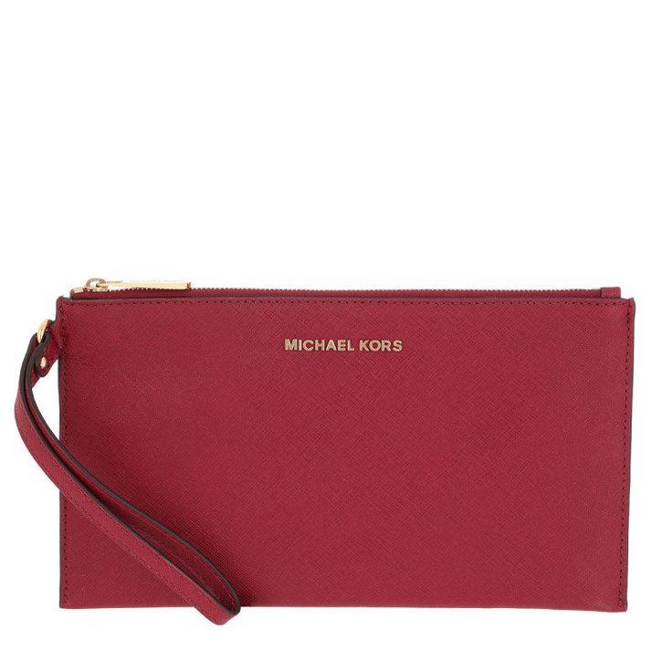 Michael Kors Michael Kors Tasche – Jet Set Travel LG Zip Clutch Leather Cherry – in rot – Abendtasche für Damen