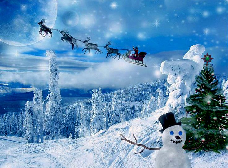 46 Best Christmas With Santa Claus And Reindeer Flying