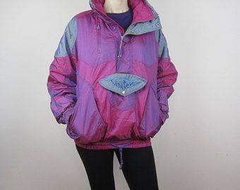 Vintage neón de invierno de los años 80 años 90 Windbreaker chaqueta esquí fucsia y morado