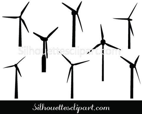 Windmill Silhouette Vector