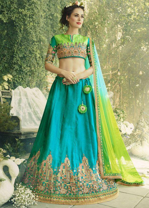 Glamorous Firozi Blue #Lehenga #Choli
