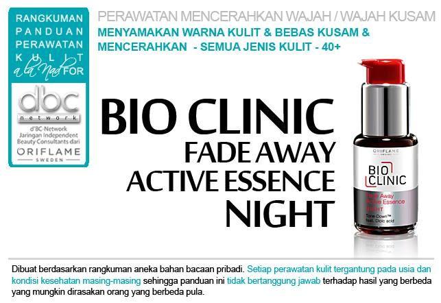 Bio Clinic Fade Away Active Essence Night |   #perawatan #mencerahkan #wajah #kusam  #bebaskusam #menyamakan #warna #kulit #semuajenis #kulit #40+ #tipsdBCN #Oriflame