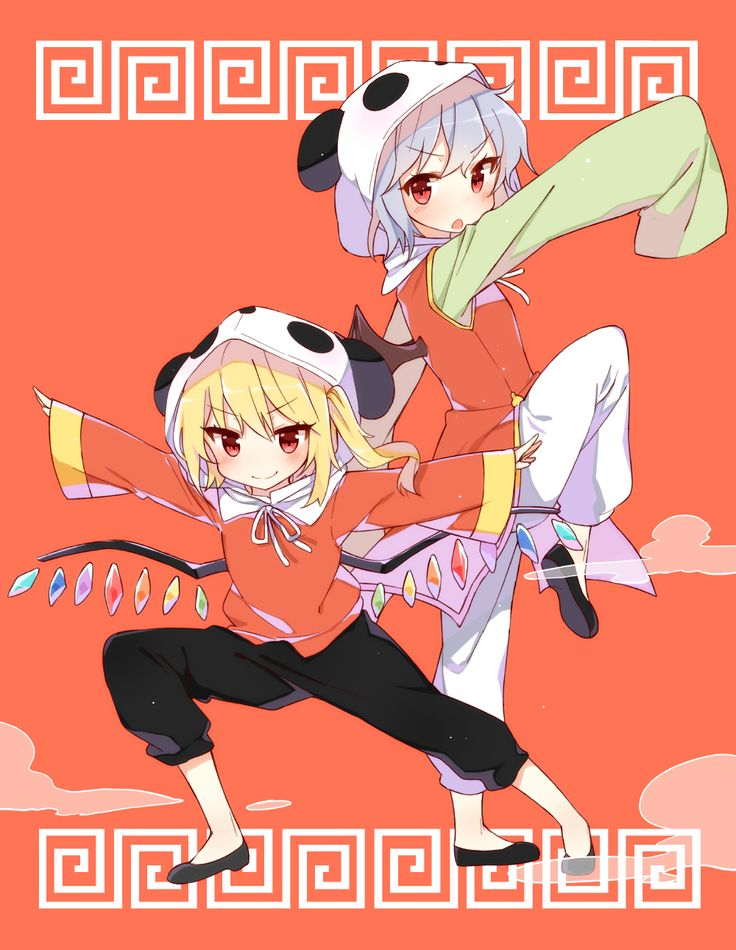 Shinotoho, Touhou, Remilia Scarlet, Flandre Scarlet, Panda Hood, White Pants