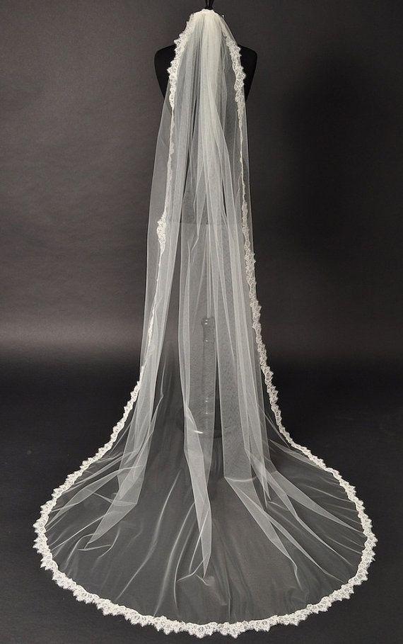 Cathedral Alencon lace veil, bridal veil, bridal accessories, lace trim, long veil. on Etsy, $231.39
