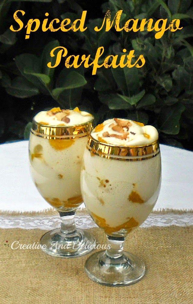 Spiced Mango Parfaits ~ Mangoes, Coconut - so tropical ! AND it is a low-fat dessert ! #MangoParfaits #Parfait #LowFatDessert
