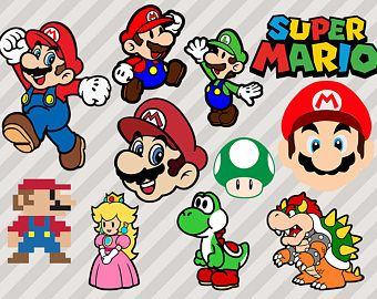 Mario Bros Svg, Super Mario Svg, Mario Clip Art, Gaming Svg, Png, Dxf, Vector files, Mario logo svg, Toad Cutfiles for cricut cuttable mario