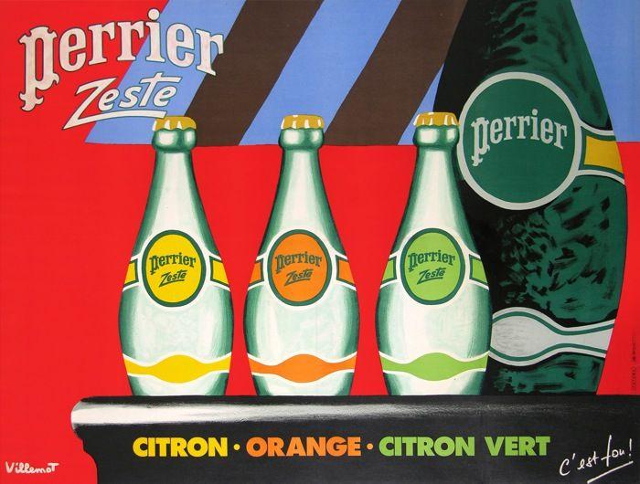 perrier zeste citron - orange - citron vert : 1987 affiches anciennes de VILLEMOT Bernard
