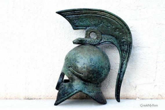 Greek Corinthian Helmet with Serpent Crest @Sun San @GreekMythos GreekMythos