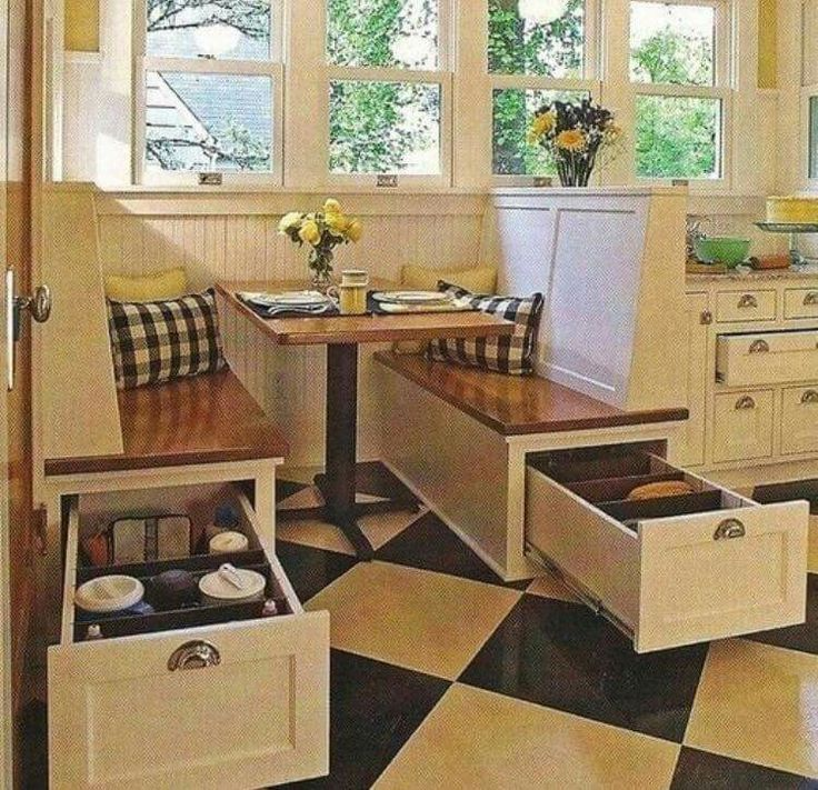 Deep drawers in banquette = smart use of space.