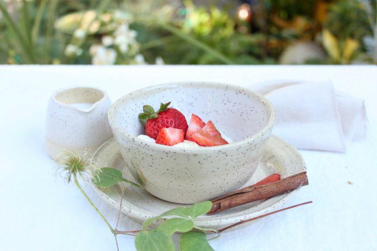 Strawberries and cream, Homestead Series bowl - Stinging Nettle Studio