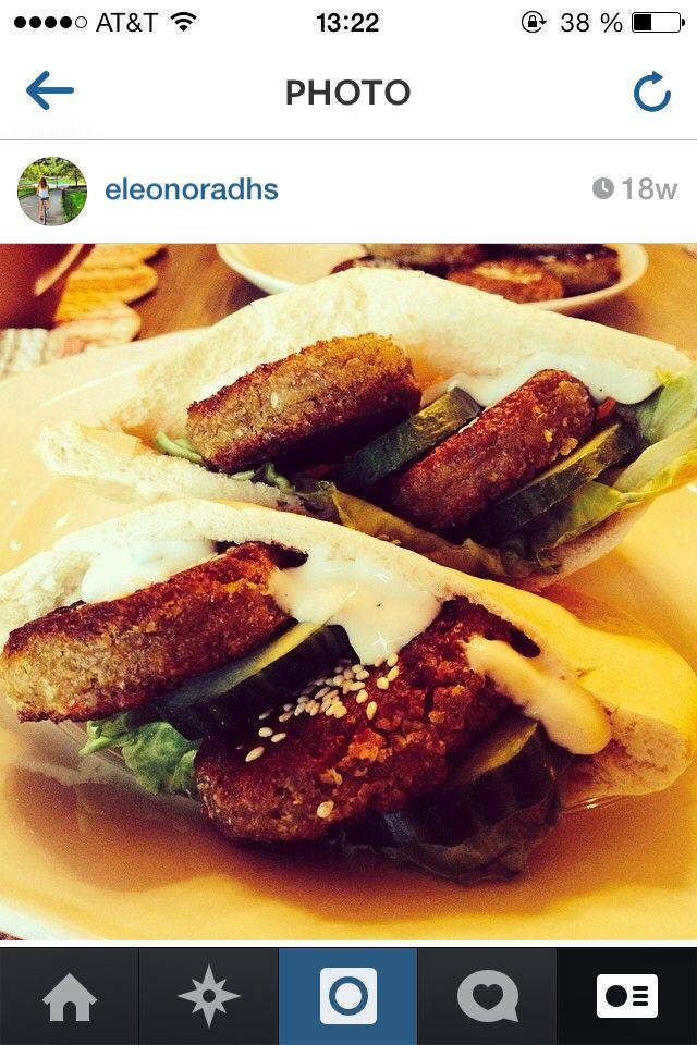 Homemade falafel in pita bread with veggies and vegan yoghurt and herb sauce