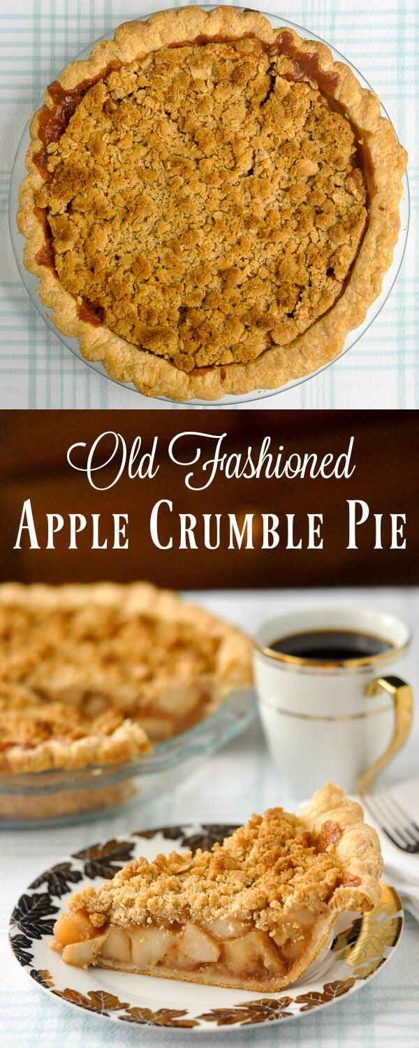 A perfect Thanksgiving Pie. What looks like an old fashioned deep dish apple crumble pie really treats all three components separately, then bakes them together at the end for a perfect bottom crust, filling sand buttery crumble topping.
