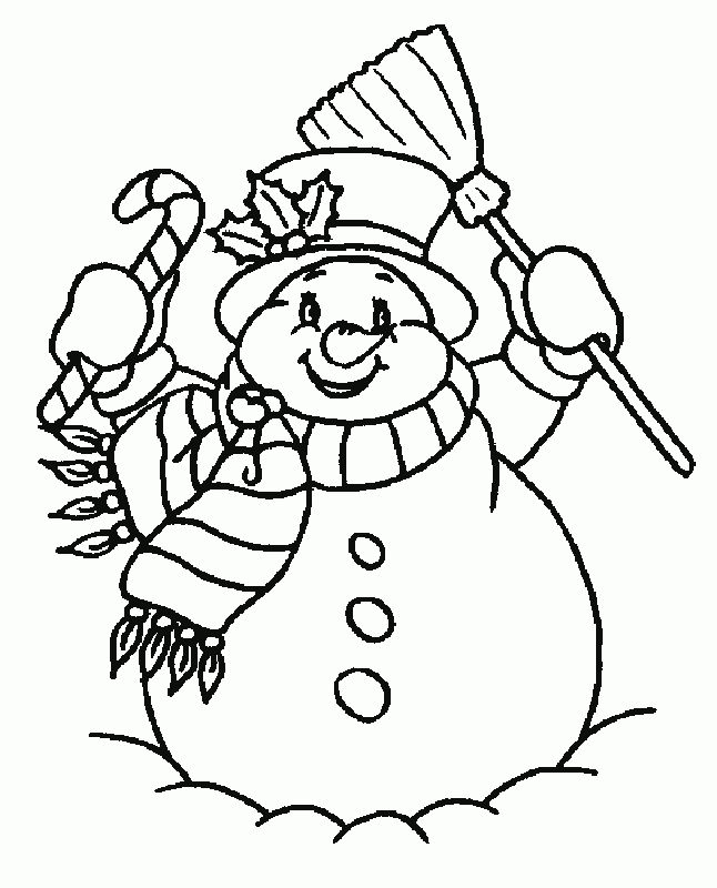 Happy snowman coloring pages