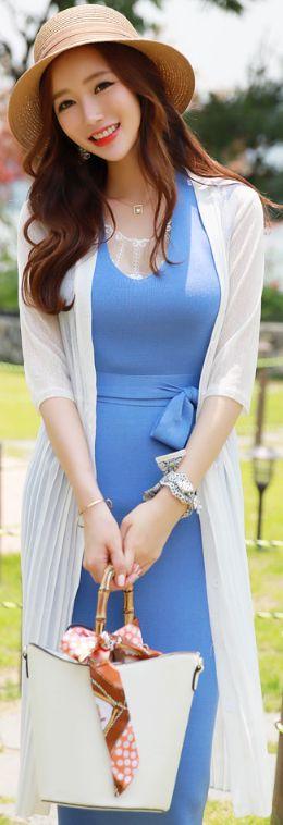 StyleOnme_Pleated Chiffon Long Cardigan #elegant #summerlook #cardigan #koreanfashion #kstyle #kfashion #seoul