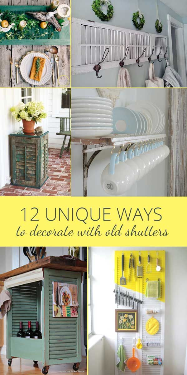 Decorating With Old Shutters In 12 Ways Rustic Crafts Chic Decor Old Shutters Decor Old Shutters Old Wooden Shutters