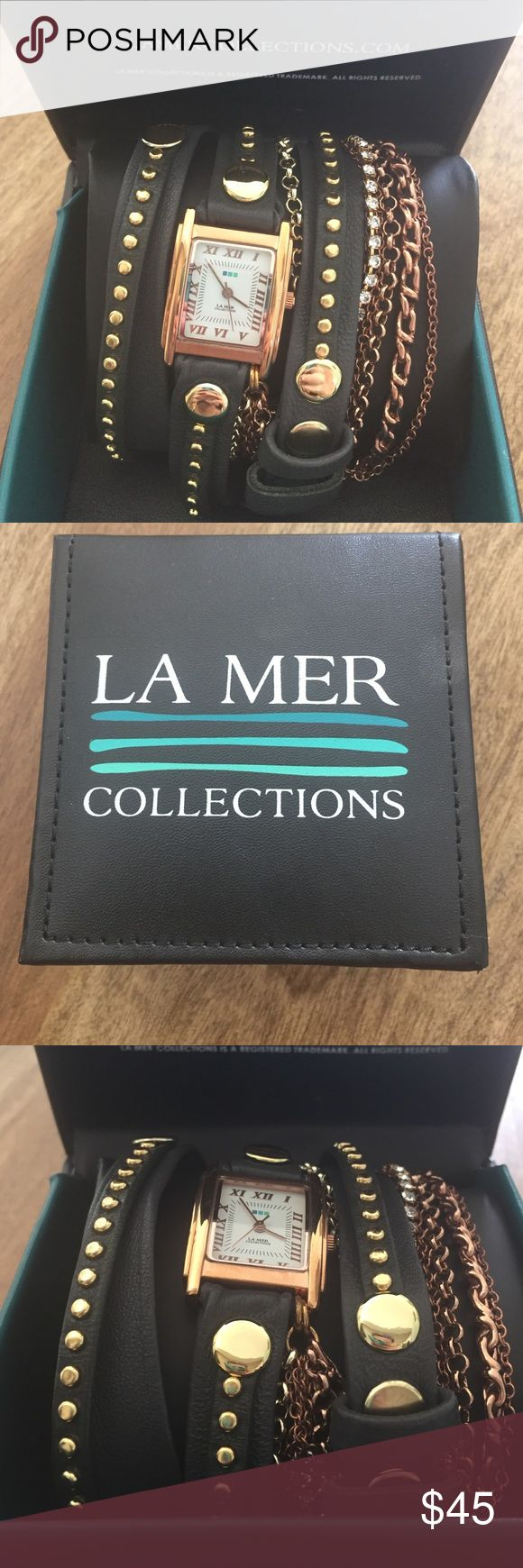 La Mer adjustable watch Rose gold, and charcoal Wrap watch new in box. La Mer rose gold, gold, charcoal and cubic zirconia. Super cute! Working. La Mer Accessories Watches