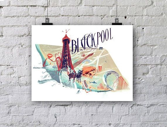 £18 Etsy Vintage Blackpool Seaside illustrated map, england! A3 poster print, 250 gsm In celebration of Blackpool statistically having the worst Alcohol problem in the UK, ive just completed An A3 Illustrated map to show off some of the better sides to the town. Details include, fish and chips, blackpool tower, blackpool victorian font, pleasure beach, kiss print, all the piers, and a donkey ride! A homage to retro, victorian vintage england seaside holidays!