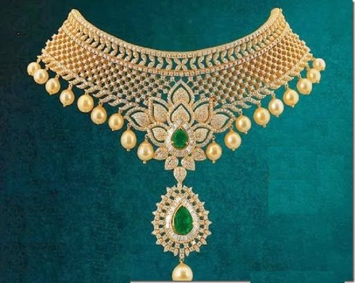 Beautiful Diamond Choker Necklace In Combination With Solitaire Emeralds And South Sea Pearls.