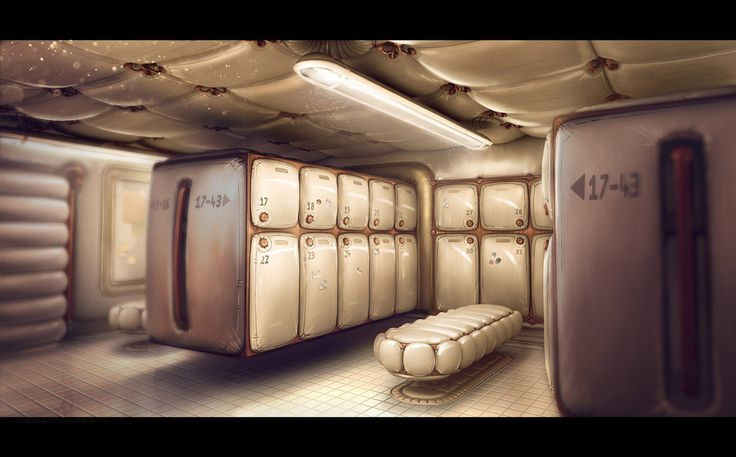 The lockerroom picture 2d sci fi room evocative and for Room design 2d
