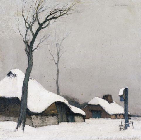 Dirk Baksteen (Belgian, 1886-1971), Hoeve in de sneeuw [Farm in the snow]. Oil on canvas, 41 x 41 cm.