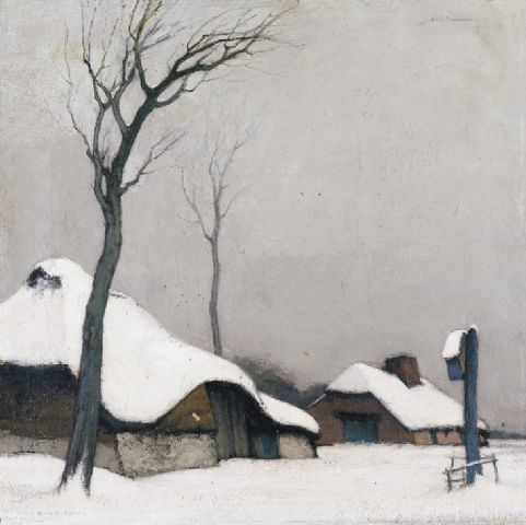Dirk Baksteen (Belgian, 1886-1971), Hoeve in de sneeuw [Farm in the snow]. Oil on canvas, 41 x 41 cm.