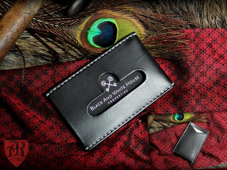 Hand made leather  business card holder. Made by Pracownia REKO