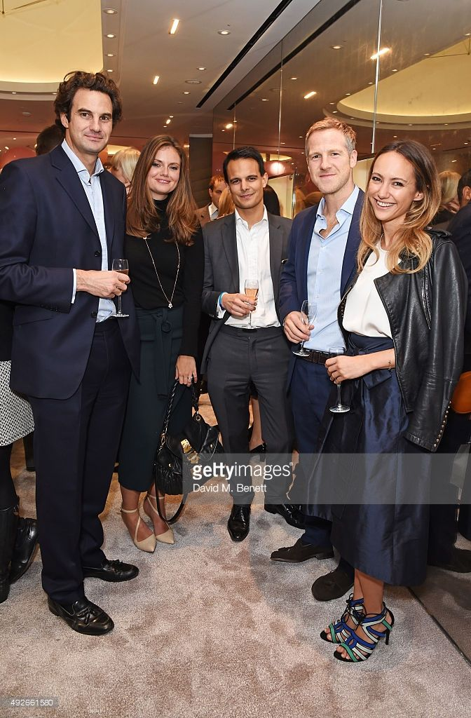 Rupert Finch, Lady Natasha Rufus Isaacs, guest, Jamie Richards and Lavinia Brennan attend as Boodles celebrates the opening of their new Bond Street flagship with special guest Emma Thompson and canape menu designed by Hemsley   Hemsley on October 14, 2015 in London, England.
