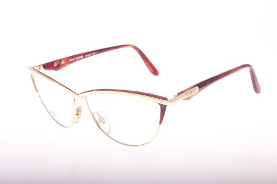 gianni versace vintage rimless cateye clubmaster eyeglasses frame in demi blonde or demi amber havana nos 80s with original case eyeglasses