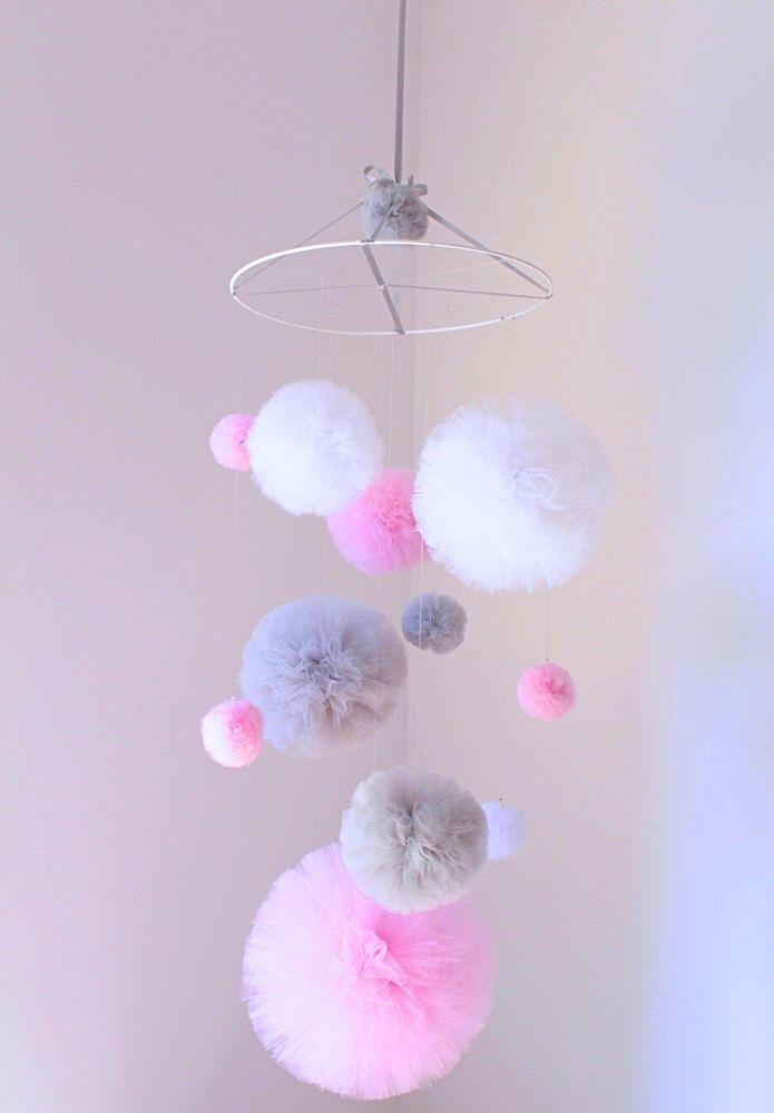 Pink Baby Girl Mobile, Tulle Pom Pom Mobile, Pom Pom Nursery Decor, Pink Mobile, Baby Mobile Hanging, Pink Nursery Mobile, Baby Girl Nursery by PomponMyLove on Etsy https://www.etsy.com/listing/471253173/pink-baby-girl-mobile-tulle-pom-pom