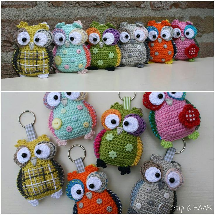 Crochet owl concept. http://stipenhaak.blogspot.com/2013/07/uilenplaag.html Pattern from https://www.etsy.com/listing/150216332/crochet-pattern-owl-hanger-pendant-key?ref=shop_home_active