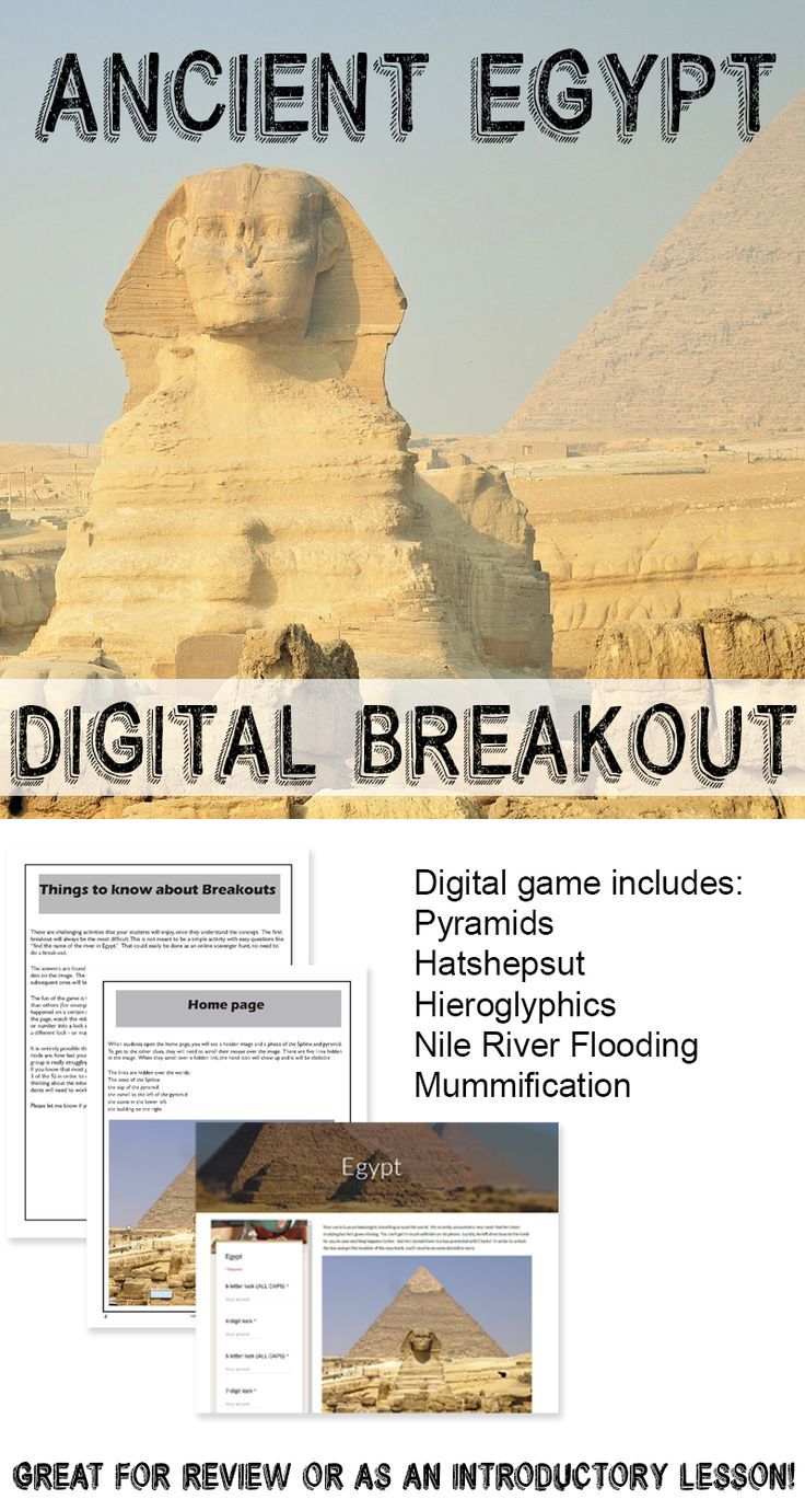 Digital breakout game - Ancient Egypt - play the game using devices, no prep required!