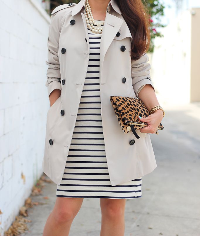 Burberry Trench coat, classic striped dress, Clare V leopard foldover clutch, triple strand faux pearl necklace, Fall outfit, Burberry size 0, ways to wear a striped dress - visit StylishPetite.com for full outfit details
