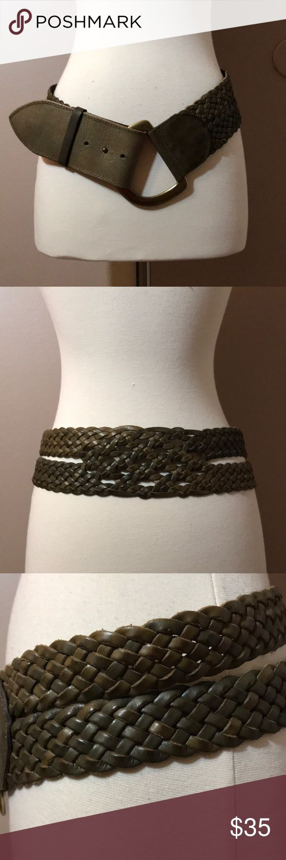 "linea Pelle Wide Braided Belt Genuine leather braided belt is 3"" wide and has a large antique brass tone buckle . Three holes for size adjustment. The belt is about 41"" end to end in entirety . The color is sort of a deep olive/taupe . Linea Pelle Accessories Belts"
