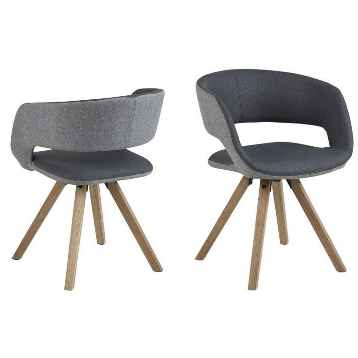 Spisestue: Grace spisebordsstol Lys/mørk grå x6