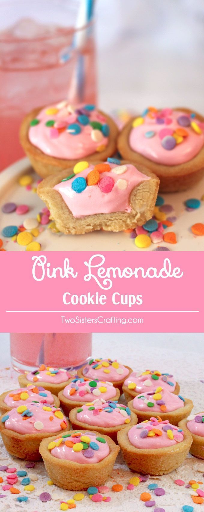Pink Lemonade Cookie Cups. These are simply perfect for an Easter party!