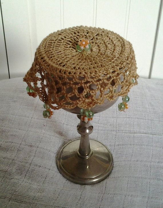 Dark Beige or tan Crochet Wine Doily cup cover or by frillydaisy
