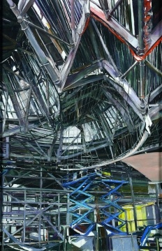 THE THREADNEEDLE PRIZE WINNER, Patricia Cain, Building the Riverside Museum, Pastel, 110 x 170 cms  - WINNER