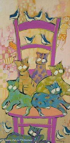 Claudette Castonguay, 'Tous amis pour la vie...', 10'' x 20'' | Galerie d'art - Au P'tit Bonheur - Art Gallery