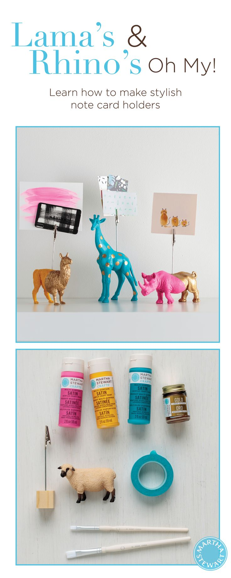 Gilded Animal Note Holder - DIY Office Accessories Transform plastic animal figurines into chic note holders using Martha Stewart Multi-Surface Acrylic Paint and liquid gilding.