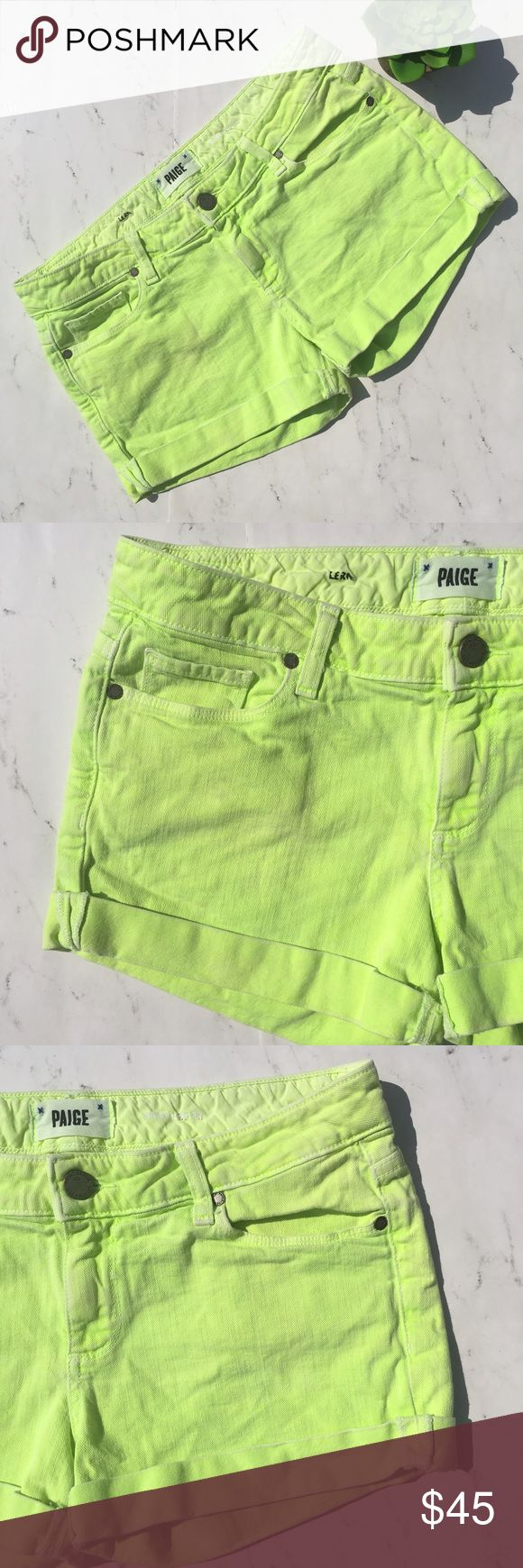 "Paige Jimmy Jimmy Short Shorts Size 28 Neon Green This is a pair of Paige Jimmy Jimmy Short Shorts • Size: 28 • Color: Neon Green • Excellent used condition • Low Rise • Stretch • Cuffed hem • 5-pocket • Tiny rip on back logo • Note: name of owner on inside waist (very discreet) • Made of 98% Cotton 2% Elastane • Machine wash • Made in USA • RN# 27002 • Approx measurements: Waist: 32"". Hip: 38"". Inseam: 2 1/2"". Front Rise: 8"". Back Rise: 12 1/2"". Outseam: 10 1/2"" • PAIGE Shorts Jean Shorts"