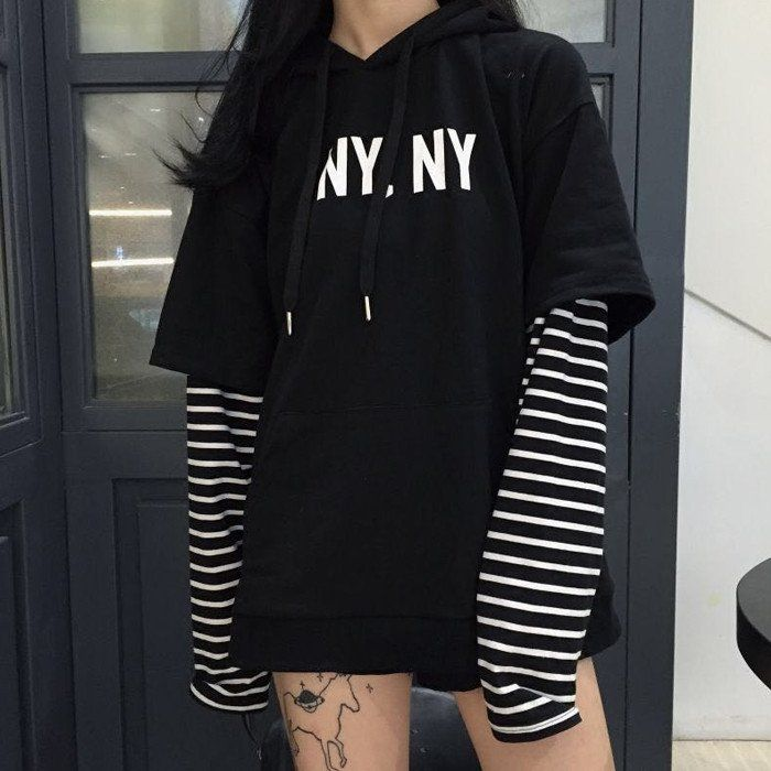 "Harajuku stripes hooded fleece SE9396   Coupon code ""sanrense"" for 10% off"