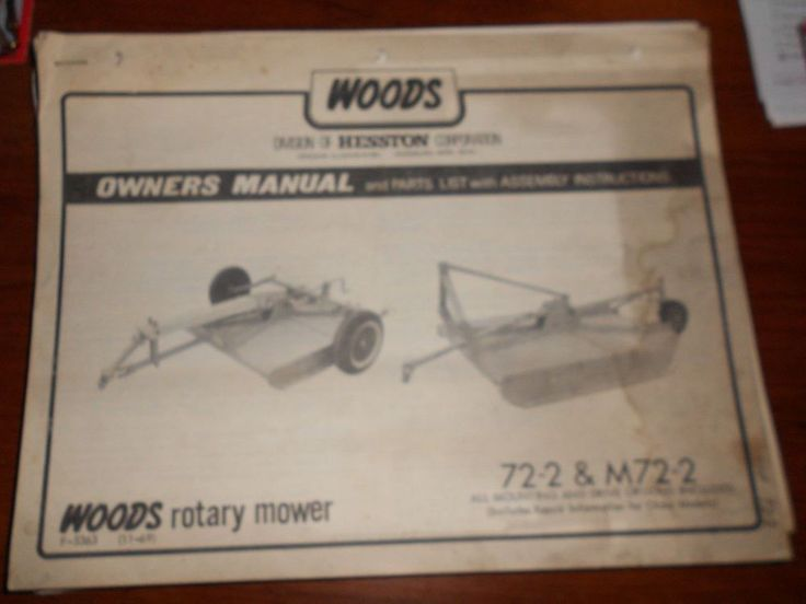 woods 72-2 and M72 rotary mowers manual