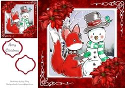 Gorgeous Fox With Snowman 8x8 on Craftsuprint - View Now!