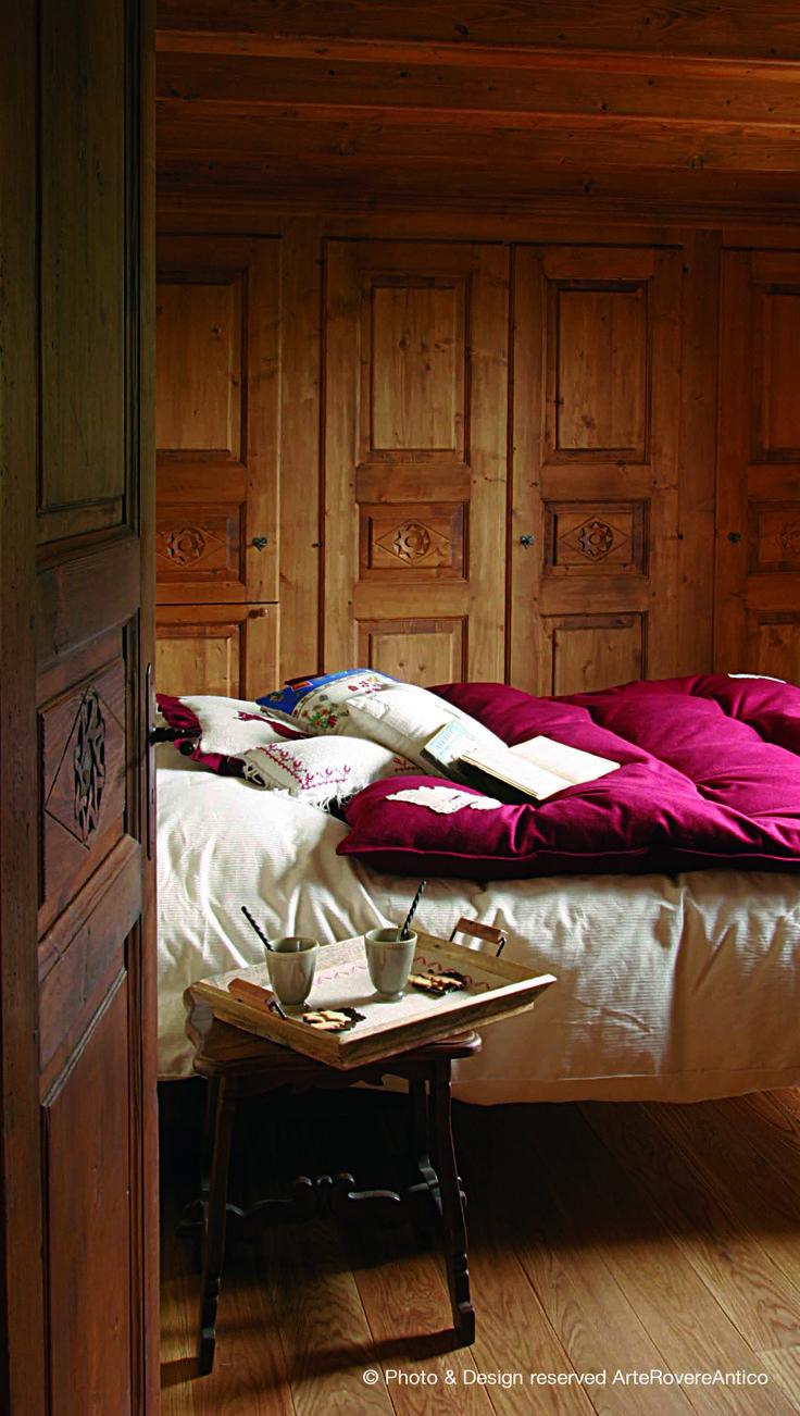 || Arte Rovere Antico - Photo by Duilio Beltramone for Sgsm.it || Casa Mont D'Arbois -  Megeve - France - Wood Interior Design - Mountain House - Bedroom