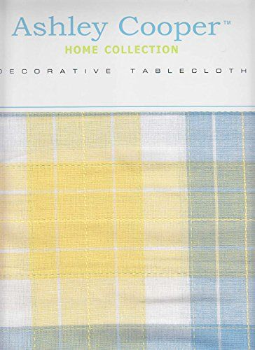 Ashley Cooper Tablecloth Yellow and Blue Cotton Plaid Fabric Top