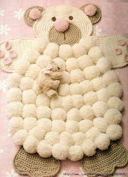 baby carpet Pom Pon carpet carpet woolen on a by planetcreativity
