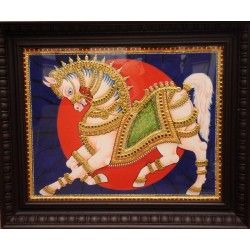 """Tanjore Painting - Horse 16""""x20"""""""