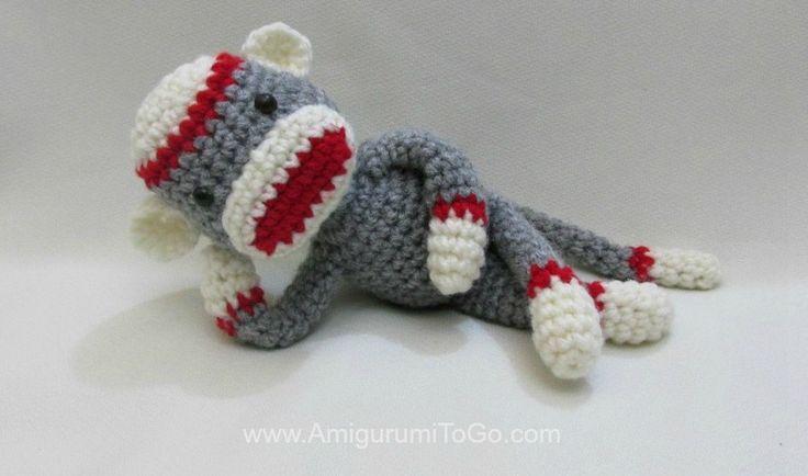 Amigurumi Sock Monkey, free pattern with video tutorial by Sharon Ojala of Amigurumi To Go. Worked with Red Heart yarn & hook size 'F'. She has a *lot* of super-cute free amigurumi patterns like this :-)   . . .  ღTrish W ~ http://www.pinterest.com/trishw/  . . . #crochet